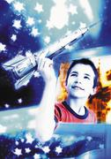 Boy emerging from computer screen, holding space rocket, digital composite. - stock illustration