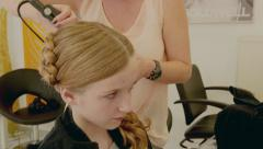 Hairdresser Young Gril Making Cornrows Stock Footage