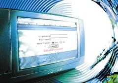 "Computer in cyberspace, ""LOG IN"" message on screen, digital composite. Stock Photos"