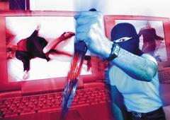 Masked man holding dagger, laptops with murder victims on screen in background, Kuvituskuvat