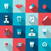Teeth icons flat - stock illustration