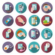 Digital health icons set - stock illustration