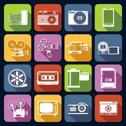 Photo Video Icons Set Stock Illustration
