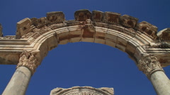 Close up shot of the Arches of the Temple of Hadrian in Ephesus - stock footage