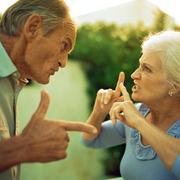 Senior couple having argument, side view - stock photo