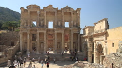 Wide shot of Celsus Library (Celcius Library) in Ephesus Stock Footage