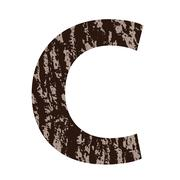 letter c made from oak bark - stock illustration