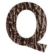 Letter q made from oak bark Stock Illustration