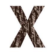 Stock Illustration of letter x made from oak bark