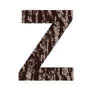 letter z made from oak bark - stock illustration