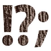 Question mark made from oak bark Stock Illustration