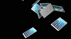 IPad Air 3D Models Falling From Above Stock Footage