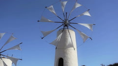 Old Greek windmills Stock Footage