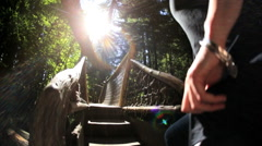 Tourist Capilano Regional Eco Park forest walkway sunlight  British Columbia Stock Footage