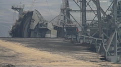 Detail of a bucket wheel excavator digging for coal Stock Footage