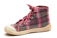 Pink tartan gumshoes Stock Photos