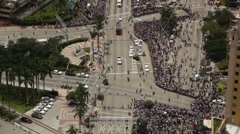 Miami Heat Parade Overhead view on Biscayne Blvd Stock Footage