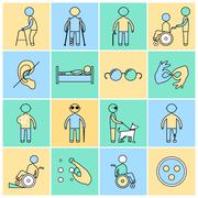 Disabled icons set flat line - stock illustration