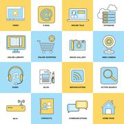 Internet Icons Flat Line Stock Illustration