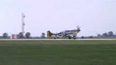 P 51 MUSTANG taxy on runway Stock Footage