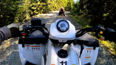 POV driving Off road Quad bike extreme terrain leisure activity Canada - stock footage