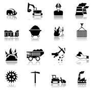Coal Industry Icons Stock Illustration