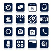 Mobile applications icons black Stock Illustration