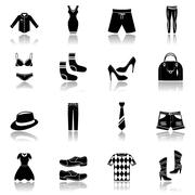 Clothes icons set black - stock illustration