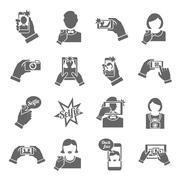 Selfie icons black - stock illustration