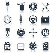 Car parts icons black - stock illustration