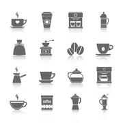 Coffee icons black - stock illustration