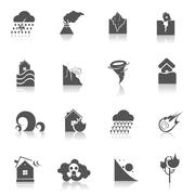 Natural disaster icons black Stock Illustration