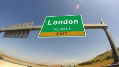Driving on highway/interstate,  exit sign of the london, united kingdom Stock Footage