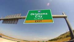 Driving on highway/interstate,  exit sign of the oklahoma ciry, oklahoma Stock Footage