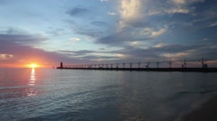 Wide Sky at Sunset over Lake Michigan Stock Footage