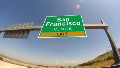 Driving on highway/interstate,  exit sign of the city of san francisco, calif Stock Footage