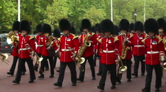 Buckingham Palace Changing of the guard on Pall Mall Stock Footage