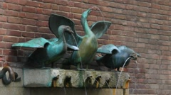 Fountain with Three Geese Hissing. Dusseldorf. Germany Stock Footage