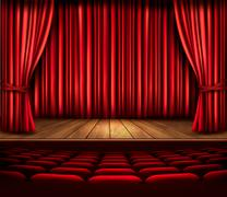 A theater stage with a red curtain, seats and a spotlight. vector. Stock Illustration