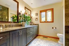 Modern bathroom interior with big cabinet and two mirrors Stock Photos