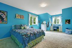 Girls room interior in bright blue color Stock Photos