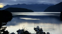 Coastal mountains Sunshine Coast sunset Vancouver Canada - stock footage