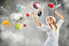 melody in cooking - stock illustration