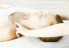 Woman getting massage Stock Photos