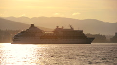 Cruise Ship Vancouver Harbor sunrise travel British Columbia, Canada Stock Footage
