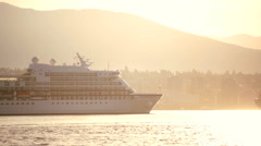 Cruise Ship Vancouver Harbor vacation sunrise travel Canada - stock footage