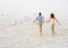 Couple running on beach toward scattering seagulls Stock Photos
