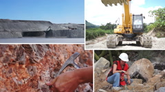 Mining Process and Activity Collage Stock Footage