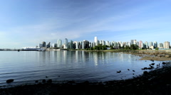 Vancouver City Waterfront Canada Place Skyscrapers Sunriseharbor Canada - stock footage