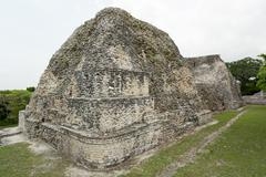 pyramid ruins at the becan archaeological site, campeche,,mexico - stock photo